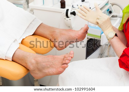 pedicure foot in a modern beauty salon