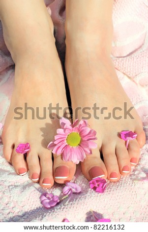 Pedicure. Pure and Beauty female feet