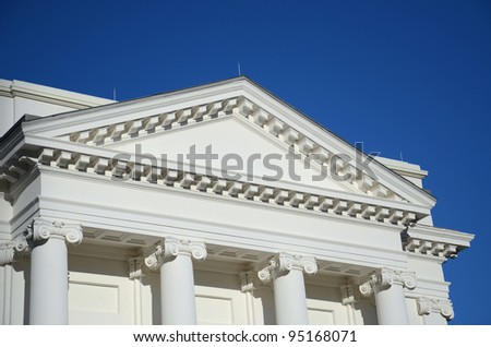 Pediment, Lintel and Columns in Greek Style Architecture - stock photo