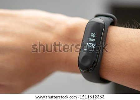 pedometer with high accumulated steps number on man wrist