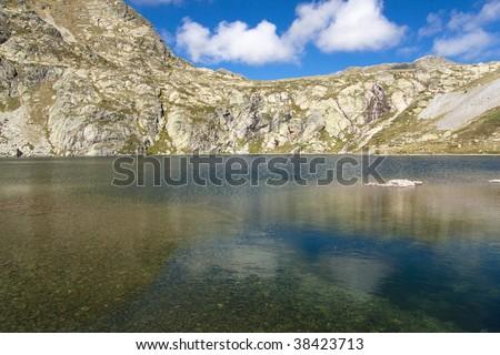 Pedourres lake in Andorra, Pyrenees mountain, summer day