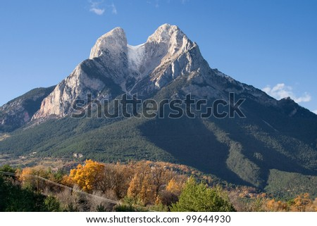 Pedraforca (2497 m) the most famous and emblematic mountain in Catalonia, Spain. - stock photo