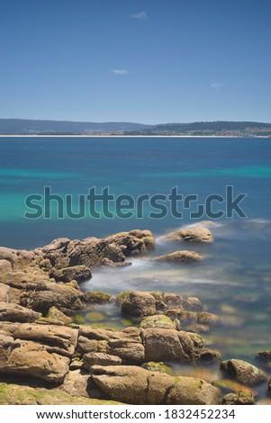 Pedras Negras beach in O Grove rias baixas Stok fotoğraf ©