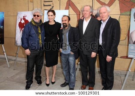 Pedro Almodovar, Angelina Jolie, Asghar Farhadi, Jean-Pierre Dardenne, Luc Dardenne at the Golden Globe Foreign-Language Nominees Seminar, Egyptian Theater, Hollywood, CA 01-14-12