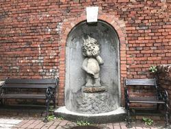 Peeing boy statue in Bielsko-Biala, Poland