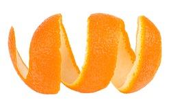 Peel of fresh orange fruit isolated on a white background. Single orange peel. Orange twist.