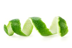 Peel of lime isolated on white background