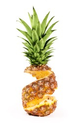 Peel of pineapple isolated on white background