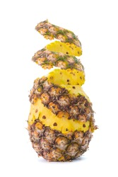 Peel off  spiral peel of pineapple isolated with soft shadow on white background