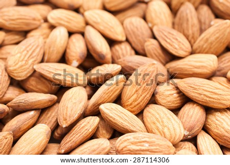 Peeled almonds closeup. For vegetarians. #287114306