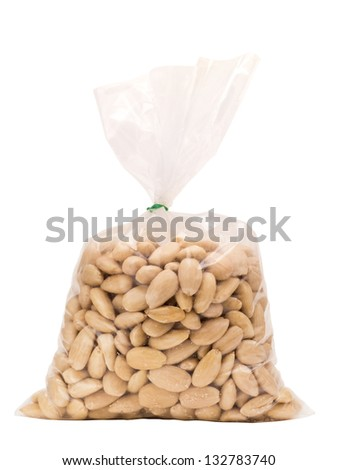 Peeled almonds isolated on white in bag with clipping path