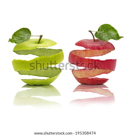 Peeled apples with leaves and reflection