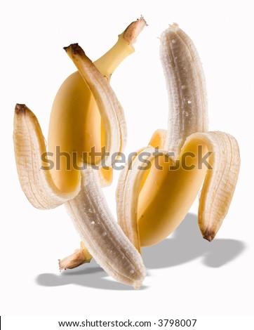 Peeled bananas dancing