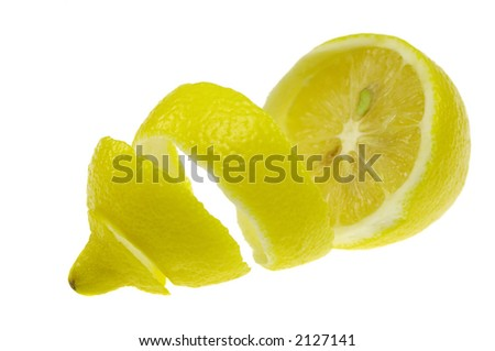 Peeled lemon on white