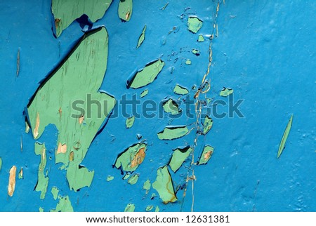 Peeled paint over wood boards close up, background - stock photo