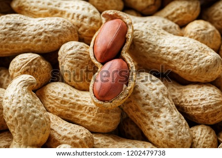Peeled peanut on well peanuts. Peanuts, for background or textures.