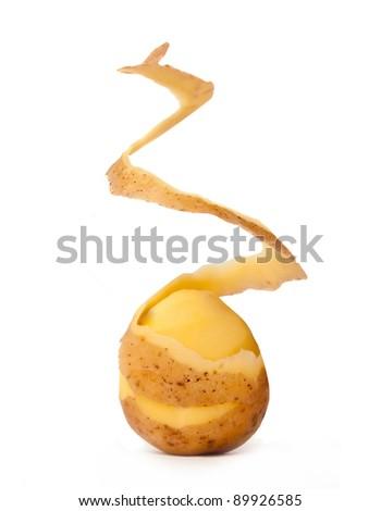 peeled potato isolated on a white background