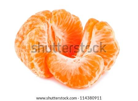 peeled ripe mandarin and slices isolated on white background