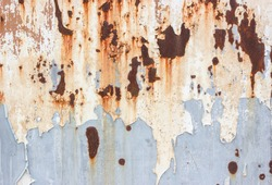 Peeled Rusty Grey Metal Wall Background, Old Metal Container House