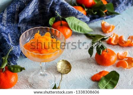 peeled tangerine slices, tangerine compote #1338308606