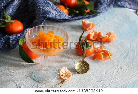 peeled tangerine slices, tangerine compote #1338308612