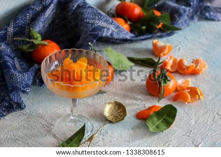peeled tangerine slices, tangerine compote #1338308615