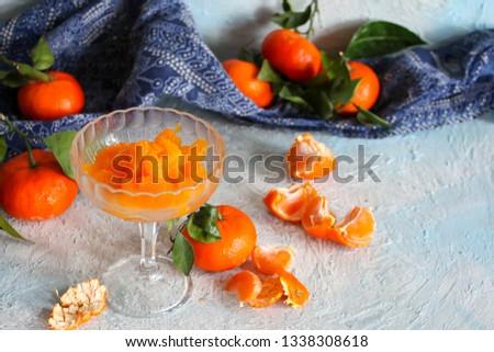 peeled tangerine slices, tangerine compote #1338308618