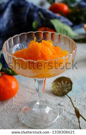 peeled tangerine slices, tangerine compote #1338308621