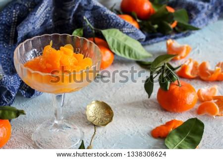 peeled tangerine slices, tangerine compote #1338308624