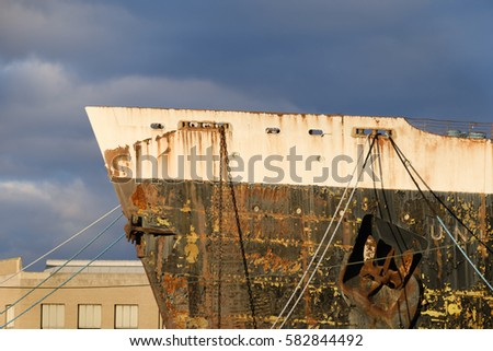 Shutterstock peeling paint and rust on the old and retired ocean liner which set and still holds the transatlantic crossing of the Atlantic ocean record set in 1959 shipyard awaiting restoration