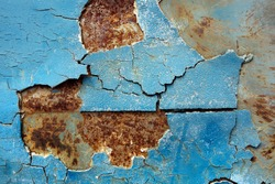 Peeling paint old car door and rusty texture background.