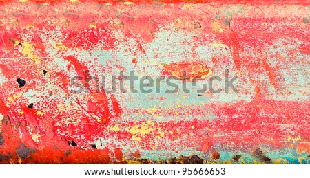 Peeling paint on a metal surface as a background
