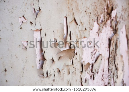 Peeling paint on a plaster wall surface. it is old walls and surfaces are deteriorating. #1510293896