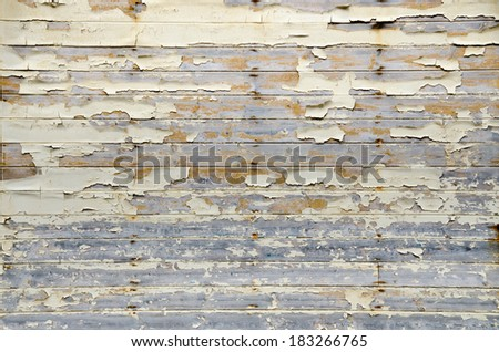 Peeling paint on an old wooden wall. Background.