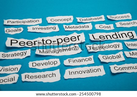 Peer-to-peer And Lending Text On Piece Of Paper Salient Among Other Related Keywords #254500798