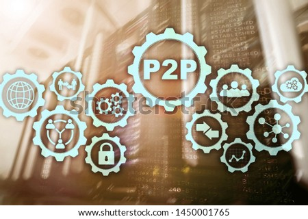 Peer to peer. P2P on the virtual screen with a server room background #1450001765