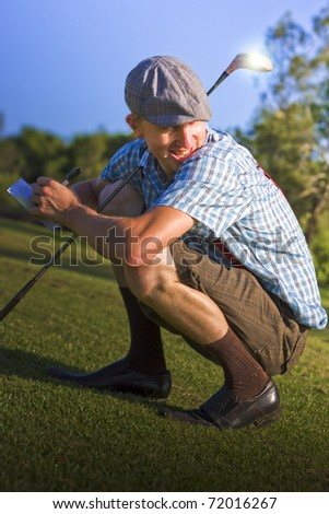 Peering Over His Shoulder On A Golf Course Fairway Mr Golf Man Changes His Score Card In A Sports Cheating Concept