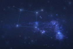 Pegasus Constellation in outer space. Pegas constellation stars with constellation lines.. Elements of this image were furnished by NASA