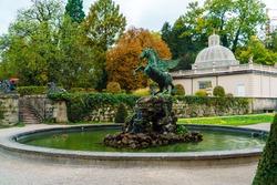 Pegasus fountain (1913) or Pegasusbrunnen in Mirabell palace garden, Salzburg, Austria
