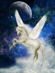 Pegasus in the sky with big clouds