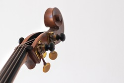 Pegbox, scroll and tuning keys of a contrabass. White background