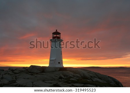 Peggy's Cove lighthouse at sunset. Photographed in Nova Scotia, Canada in September 2009.