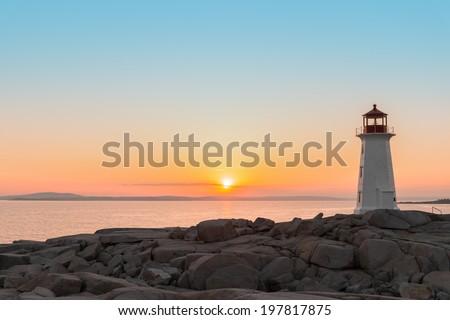 Peggys Cove's Lighthouse at Sunset (Nova Scotia, Canada)