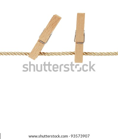 pegs on clothesline isolated on white background
