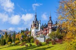 Peles castle in autumn. Sinaia, Prahova county, Romania.