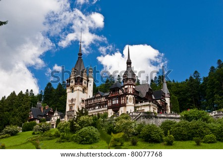 Peles Castle is a Neo-Renaissance castle placed in an idyllic setting in the Carpathian Mountains, in Sinaia, Prahova County, Romania; built between 1873 and 1914 its inauguration was held in 1883.