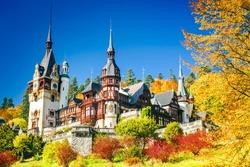 Peles Castle, Romania. Famous Neo-Renaissance castle and ornamental garden in Sinaia, Carpathian Mountains in Europe.