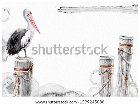 Pelican bird and wood marine piles watercolor splotches greeting card hand painted illustration. Your text here