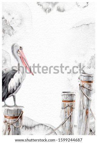 Pelican bird and wood marine piles watercolor splotches invitation card hand painted illustration. Your text here