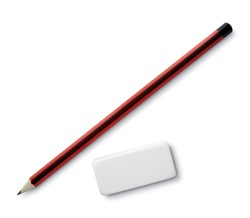 pen and eraser sharpener on white